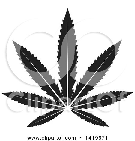 Clipart of a Black and White Marijuana Pot Leaf - Royalty Free Vector Illustration by cidepix