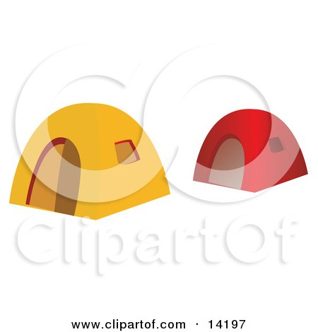 Red and Yellow Tents at a Campground Clipart Illustration by Rasmussen Images