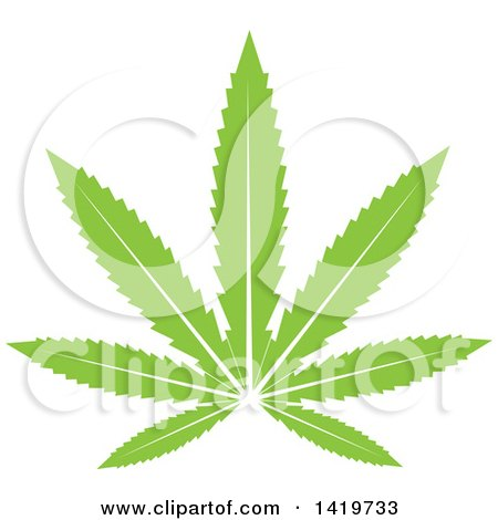 Clipart of a Green Marijuana Pot Leaf - Royalty Free Vector Illustration by cidepix