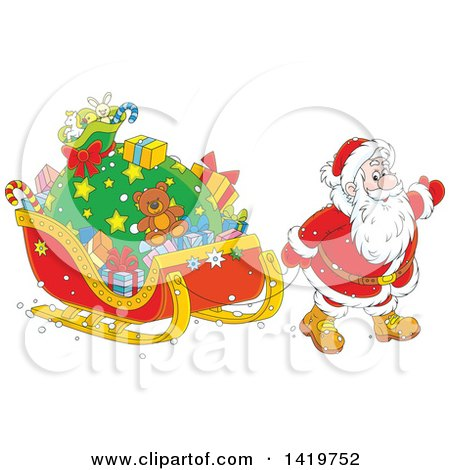 Clipart Of A Christmas Santa Claus Pulling A Sleigh Full Of Gifts Royalty Free Vector Illustration
