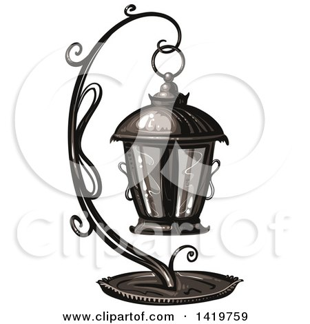 Clipart of a Lantern - Royalty Free Vector Illustration by merlinul