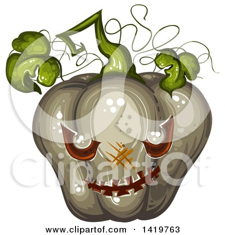 Clipart of a Carved Evil Halloween Jackolantern Pumpkin - Royalty Free Vector Illustration by merlinul