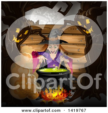 Clipart of a Halloween Witch Stirring a Cauldron, Bordered with Evil Ent Trees - Royalty Free Vector Illustration by merlinul