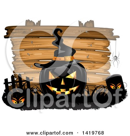 Clipart of a Black Halloween Jackolantern Pumpkin Wearing a Witch Hat in a Cemetery over a Wood Sign - Royalty Free Vector Illustration by merlinul