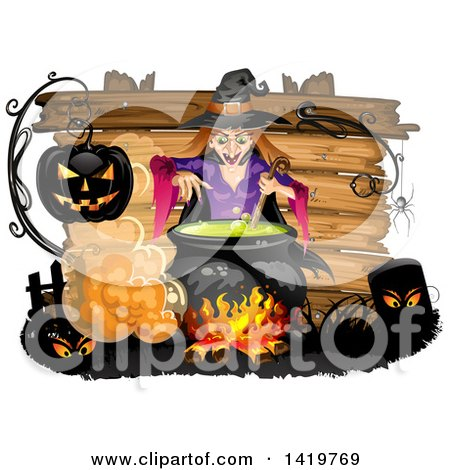 Clipart of a Halloween Witch Stirring a Cauldron over a Wood Sign - Royalty Free Vector Illustration by merlinul