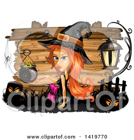 Clipart of a Halloween Witch by a Cauldron, over Wood Boards - Royalty Free Vector Illustration by merlinul