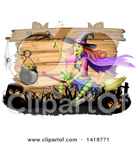 Clipart of a Halloween Witch Flying on a Broomstick by a Cauldron, over Wood Boards - Royalty Free Vector Illustration by merlinul