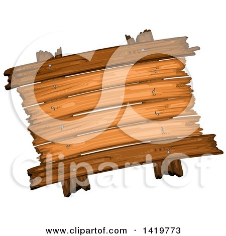 Clipart of a Wooden Sign - Royalty Free Vector Illustration by merlinul