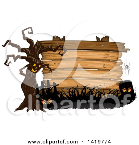 Clipart of a Spooky Ent Tree with a Spider, Eyes, and Tombstone in Front of a Wood Sign - Royalty Free Vector Illustration by merlinul