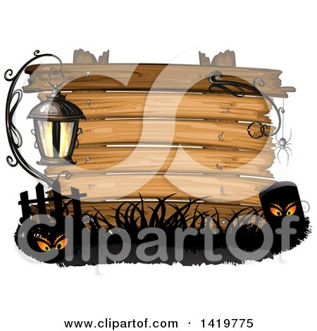 Clipart of a Wood Sign with a Lamp, Eyes, Spider and Tombstone - Royalty Free Vector Illustration by merlinul