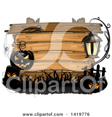 Clipart of a Black Halloween Jackolantern Pumpkin Hanging from a Hook with a Spider, Tombstone and Lamp over a Wood Sign - Royalty Free Vector Illustration by merlinul