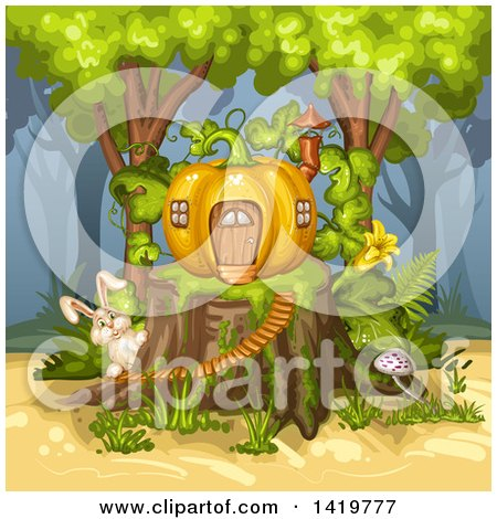 Clipart of a Rabbit by a Pumpkin House on a Tree Stump - Royalty Free Vector Illustration by merlinul