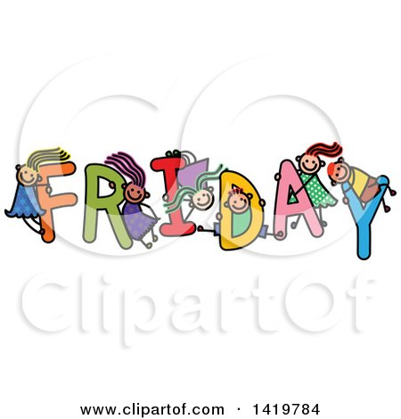Clipart of a Doodled Sketch of Children Playing on the Word Friday - Royalty Free Vector Illustration by Prawny