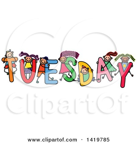 Clipart of a Doodled Sketch of Children Playing on the Word Tuesday - Royalty Free Vector Illustration by Prawny