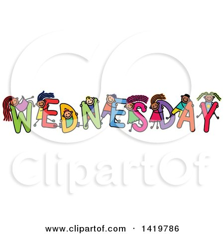 Clipart of a Doodled Sketch of Children Playing on the Word Wednesday - Royalty Free Vector Illustration by Prawny