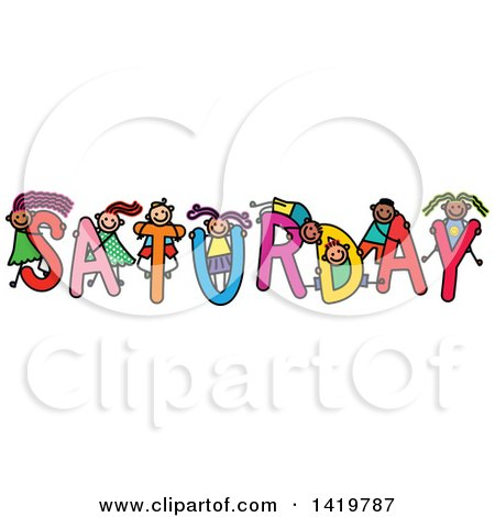 Clipart of a Doodled Sketch of Children Playing on the Word Saturday - Royalty Free Vector Illustration by Prawny