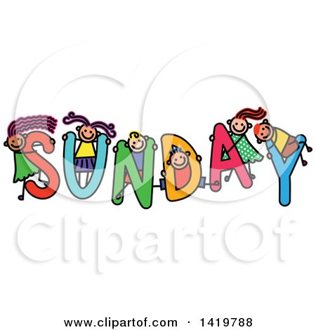 Clipart of a Doodled Sketch of Children Playing on the Word Sunday - Royalty Free Vector Illustration by Prawny