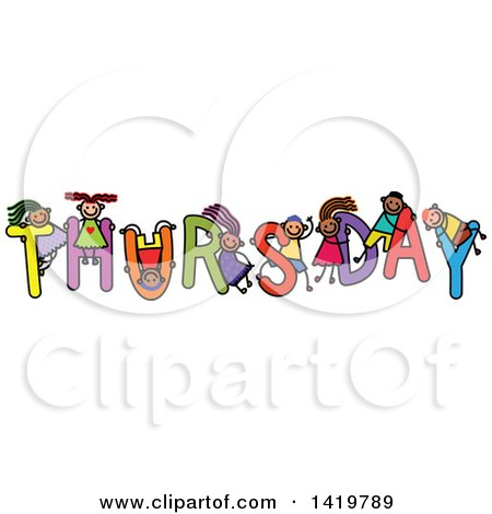 Clipart of a Doodled Sketch of Children Playing on the Word Thursday - Royalty Free Vector Illustration by Prawny