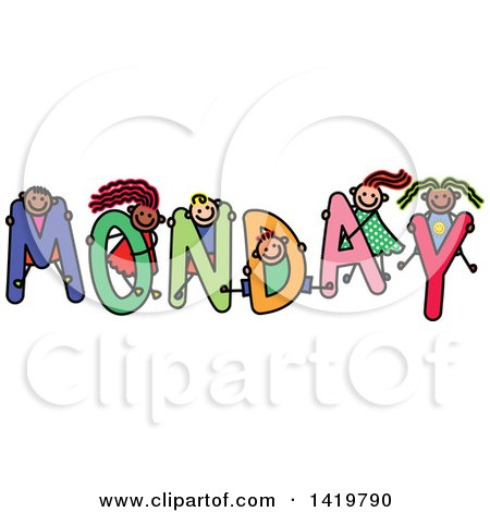 Clipart of a Doodled Sketch of Children Playing on the Word Monday - Royalty Free Vector Illustration by Prawny