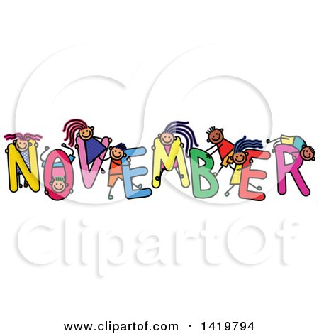 Clipart of a Doodled Sketch of Children Playing on the Word November - Royalty Free Vector Illustration by Prawny