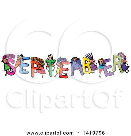 Clipart of a Doodled Sketch of Children Playing on the Word September - Royalty Free Vector Illustration by Prawny