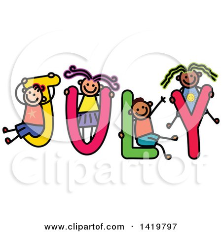 Clipart of a Doodled Sketch of Children Playing on the Word July - Royalty Free Vector Illustration by Prawny