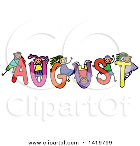 Clipart of a Doodled Sketch of Children Playing on the Word August - Royalty Free Vector Illustration by Prawny