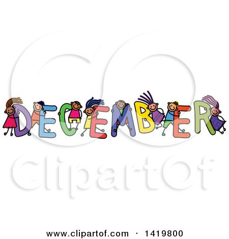 Clipart of a Doodled Sketch of Children Playing on the Word December - Royalty Free Vector Illustration by Prawny