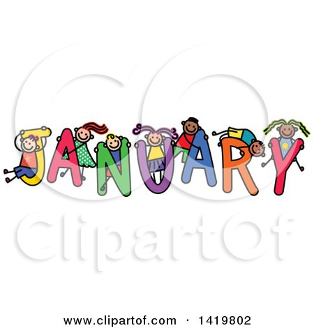 Clipart of a Doodled Sketch of Children Playing on the Word January - Royalty Free Vector Illustration by Prawny