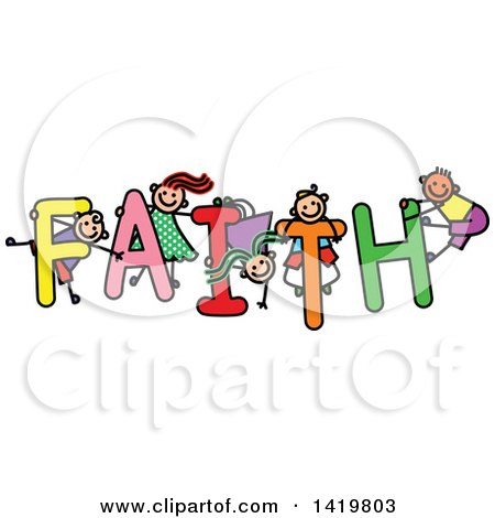 Clipart of a Doodled Sketch of Children Playing on the Word Faith - Royalty Free Vector Illustration by Prawny