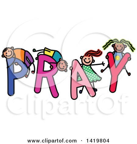 Clipart of a Doodled Sketch of Children Playing on the Word Pray - Royalty Free Vector Illustration by Prawny