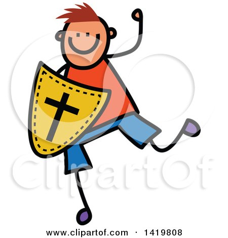 Clipart of a Doodled Sketched Boy Running with a Shield of Faith - Royalty Free Vector Illustration by Prawny