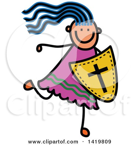 Clipart of a Doodled Sketched Blue Haired Girl Running with a Shield of Faith - Royalty Free Vector Illustration by Prawny
