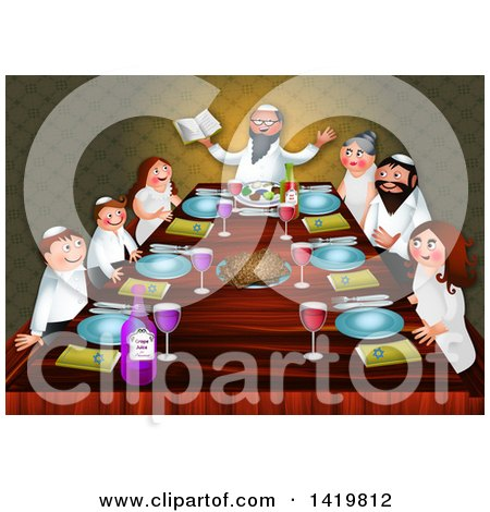 Clipart of a Happy Jewish Family Celebrating the Feast of Passover Around a Table - Royalty Free Illustration by Prawny