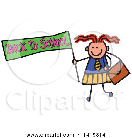 Clipart of a Doodled Sketched School Girl Holding a Back to School Flag - Royalty Free Vector Illustration by Prawny