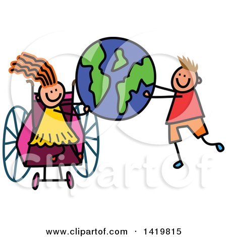 Clipart of a Doodled Disabled Girl in a Wheelchair and Boy Holding up Planet Earth - Royalty Free Vector Illustration by Prawny