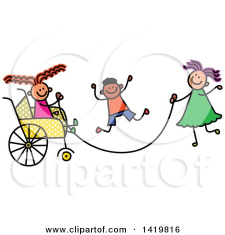 Clipart of a Doodled Disabled Girl in a Wheelchair, Playing Jump Rope with Her Friends - Royalty Free Vector Illustration by Prawny