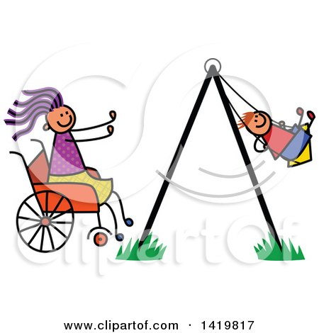 Clipart of a Doodled Disabled Mom in a Wheelchair, Pushing Her Son in a Swing - Royalty Free Vector Illustration by Prawny