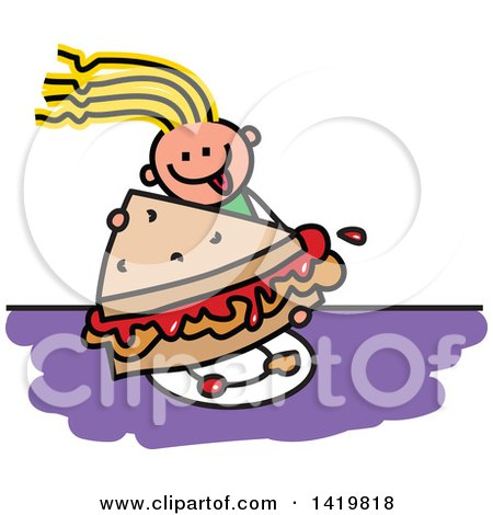 Clipart of a Doodled Sketched Girl Eating a Giant Peanut Butter and Jelly Sandwich - Royalty Free Vector Illustration by Prawny