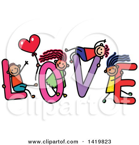 Clipart of a Doodled Sketch of Children Playing on the Word Love - Royalty Free Vector Illustration by Prawny