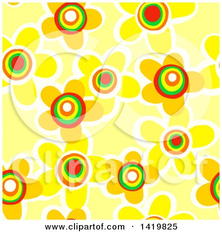Clipart of a Seamless Pattern Background of 60s Styled Yellow Daisy Flowers - Royalty Free Illustration by Prawny