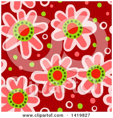 Clipart of a Seamless Pattern Background of 60s Styled Pink Daisy Flowers - Royalty Free Illustration by Prawny