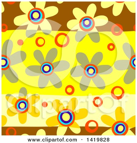 Clipart of a Seamless Pattern Background of 60s Styled Daisy Flowers - Royalty Free Illustration by Prawny