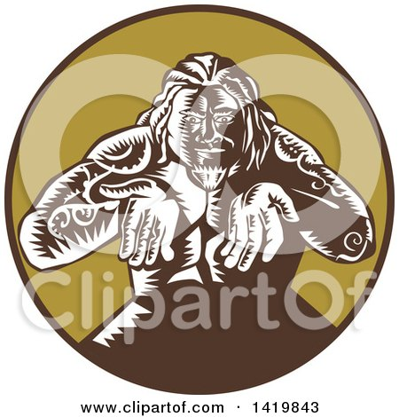 Clipart of a Retro Woodcut Samoan God, Tagaloa, Holding His Hands Out, in a Brown and Green Circle - Royalty Free Vector Illustration by patrimonio