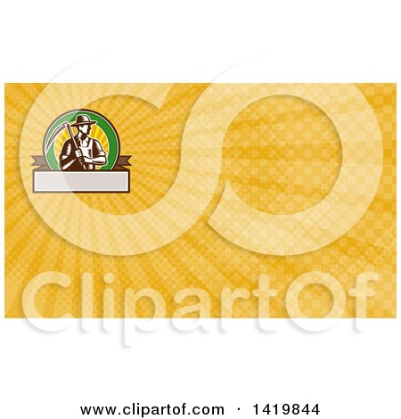 Clipart of a Retro Brown and White Woodcut Male Farmer Holding a Scythe and Yellow Rays Background or Business Card Design - Royalty Free Illustration by patrimonio