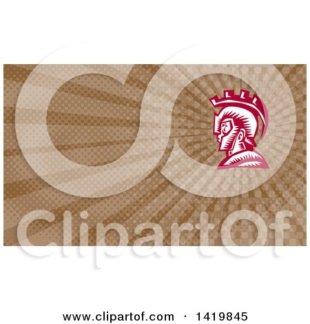 Clipart of a Retro Woodcut Spartan Warrior in Profile, Wearing a Helmet and Brown Rays Background or Business Card Design - Royalty Free Illustration by patrimonio