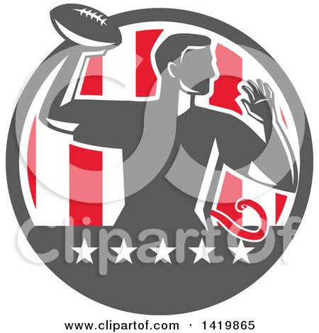 Clipart of a Retro Male Flag Football Player Passing in a Flag Circle - Royalty Free Vector Illustration by patrimonio