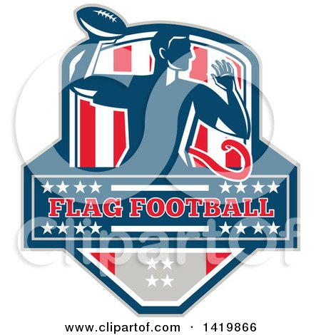 Clipart of a Retro Male Flag Football Player Passing, over Text, in a Flag Crest - Royalty Free Vector Illustration by patrimonio