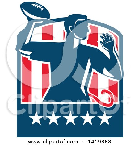 Clipart Of A Retro Male Flag Football Player Passing In A Flag Crest Royalty Free Vector Illustration