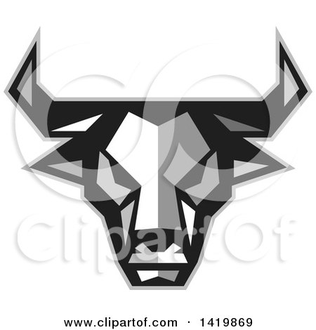 Clipart of a Low Polygon Style Bull Head - Royalty Free Vector Illustration by patrimonio